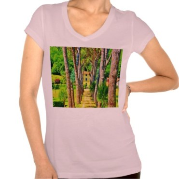Long Straight Tree-lined Tuscan Driveway, Women, Bella Relax Fit Jersey VNeck, Pink, Front